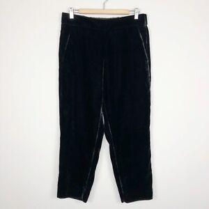 J. Crew Black Classy Luxe Velvet Pull-On Crop Pants Pockets Women's Size 10