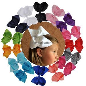 8-Inch-Girls-Big-Large-Hair-Bows-Grosgrain-Ribbon-Rainbow-BowKnot-Alligator-Clip