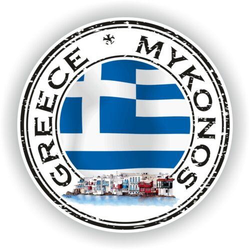 Seal Sticker of Greece Mykonos Stamp Bumper Roundel Laptop Car Truck