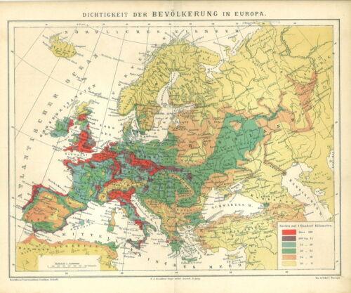 Dichtigkeit der Bevölkerung in Europa. Alte historische Landkarte 1883 B13