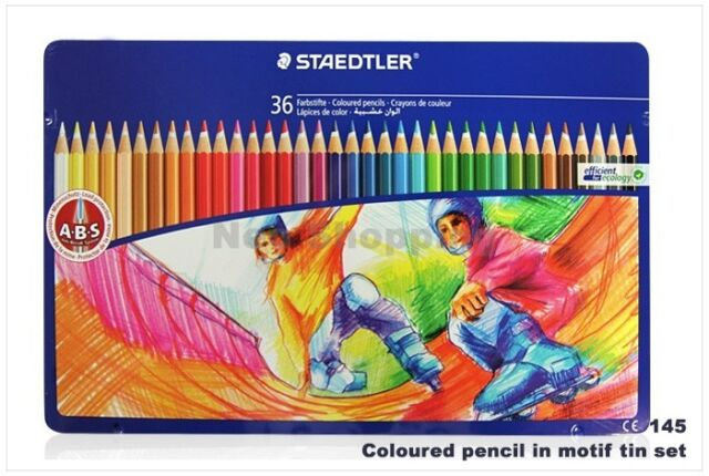 Staedtler Coloured Pencil in Motif Tin Set 24 Colors 145 SPM36 Drawing Sketching