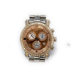Aqua-Master-Stainless-Steel-amp-Diamond-Men-039-s-Automatic-Chronometer-Watch