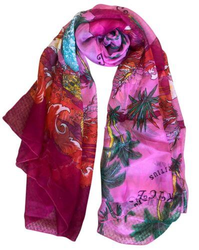 Silky Beautifully Soft Large Chiffon Pink Tropical Scarf Sarong Shawl Sarong