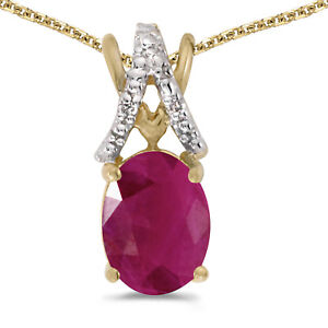 14k-Yellow-Gold-Oval-Ruby-And-Diamond-Pendant-with-18-034-Chain