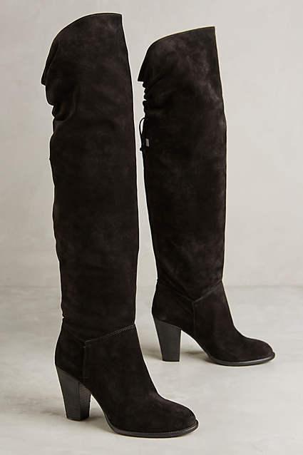 servizio di prima classe New Anthropologie Miss Albright Fulton Knee stivali - Suede nero nero nero - 10 Runs Small  distribuzione globale
