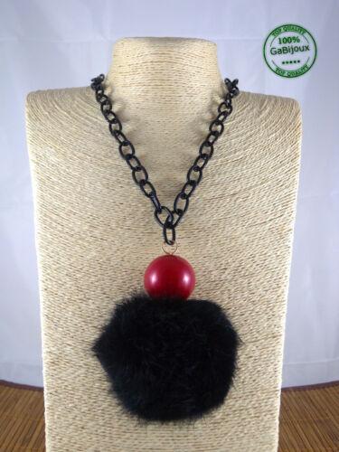 Collana Donna Ciondolo Peluche Sfera Rosso Nero Bianco Catena Nera Elegante