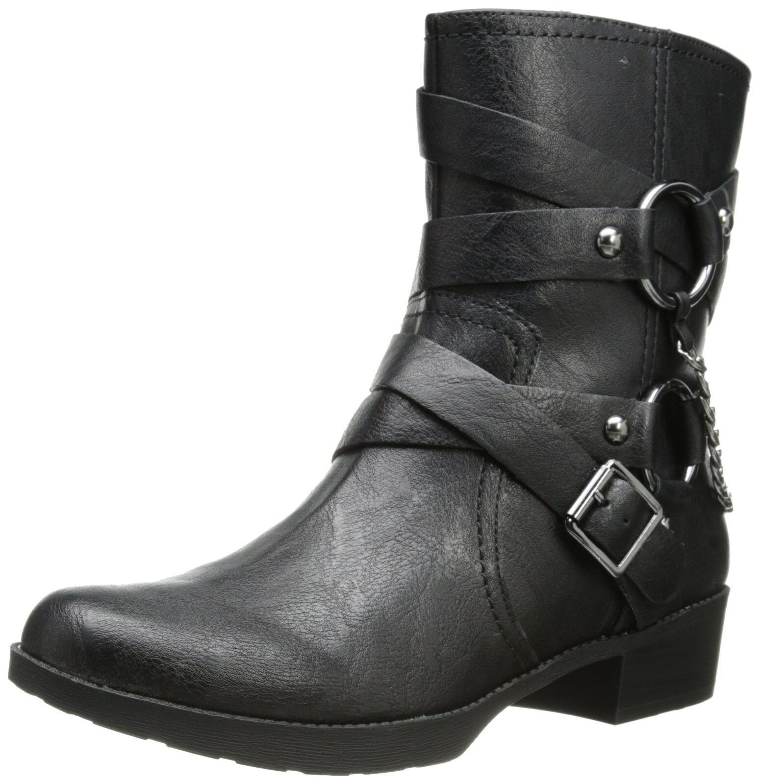 6M JESSICA SIMPSON GOLDI FAUX LEATHER BLACK  FAHION MID-CALF BOOT  AS228