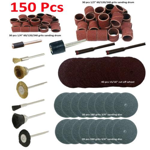 "150 Pc Rotary Power Tool Set 1//8/"" Shank Sanding Polish for rotary tool"