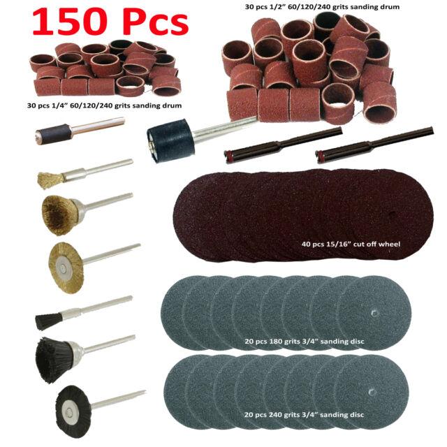 "150 Pc Rotary Power Tool Set Fits 1/8"" Shank Sanding Polish Accessory Bit Power"