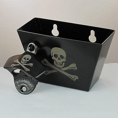 Black Skull and Bones COMBO Pirate Starr Wall Mount Bottle Opener w/ Cap Catcher