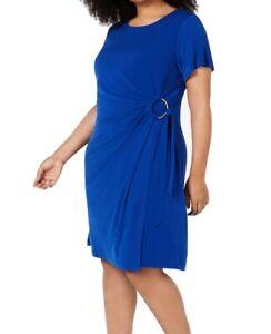 Calvin Klein Womens Dresses Blue Size 14W Plus Sheath Gathered O-Ring $109 288