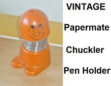 "Vintage PAPERMATE ""Chuckler"" Novelty Pen Holder - Orange - from the 1970s - RARE"