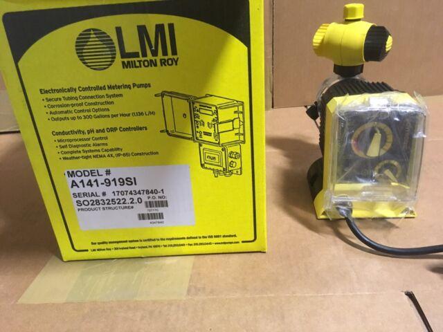 LMI Chemical Metering Pump A141-919SI .5 GPH 250 psi Acrylic/PVDF Manual Control