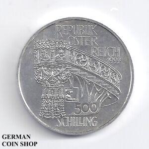 Austria-Osterreich-500-Schilling-1997-Steinmetz-Kanzel-Stephans-Dom-Silber