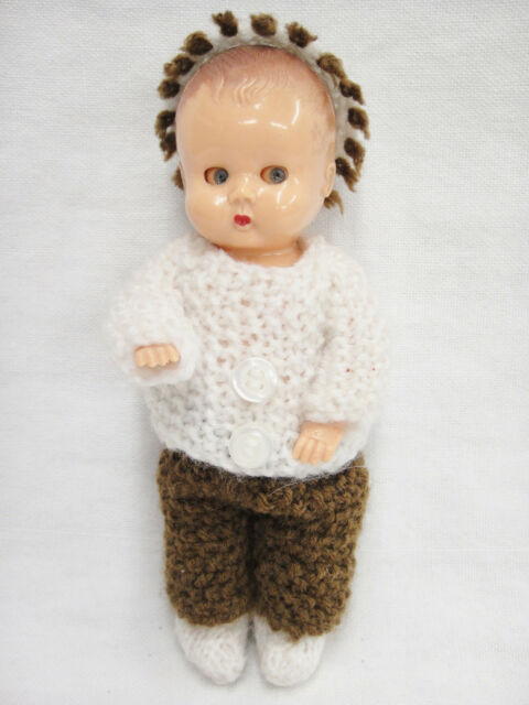 "Vintage Tudor Rose Hard Plastic Doll 6"" Blue Sleepy Eyes Jointed Molded Hair"