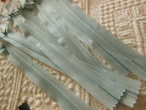lot 5 fermeture éclair 20 cm bleu clair invisibles non séparable A80