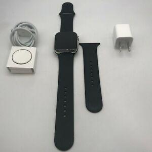 Apple Watch Series 5 Cellular Silver Stainless Steel 44mm W Black Sport 9 10 Ebay