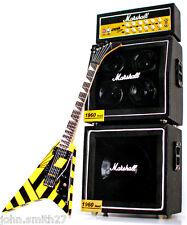 Miniature Guitar Michael Sweet Stryper V & Full Stack Marsh Vintage Display Amp