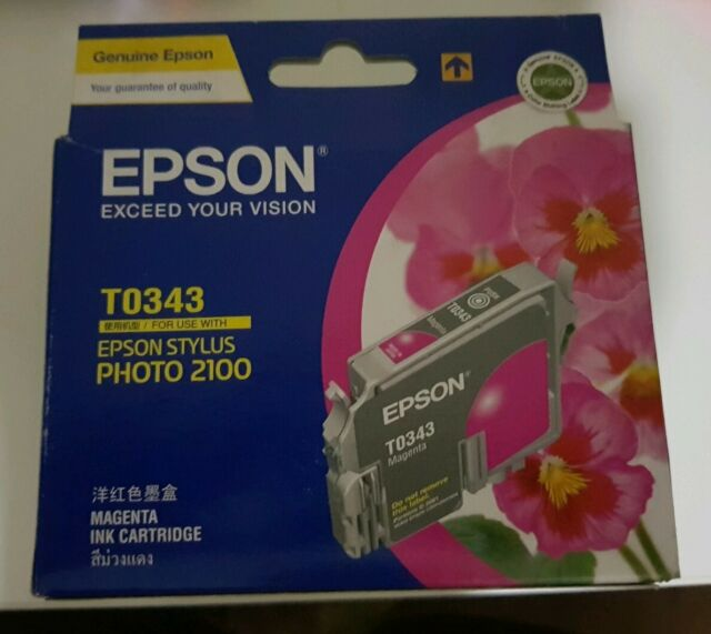 Genuine Epson T0343 Magenta Ink Cartridge STYLUS PHOTO 2100