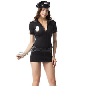 968ee4bac3 Women Police Halloween Costume Cosplay Dress Cop Uniform Sexy ...
