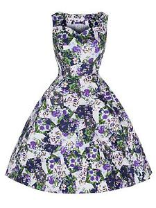 2f61b0c5381a Vintage Retro 1950 s White Purple Floral Rockabilly Jive Swing Dress ...