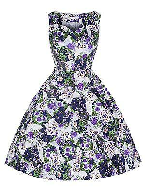 Vintage Retro 1950's White Purple Floral Rockabilly Jive Swing Dress New 8 - 18