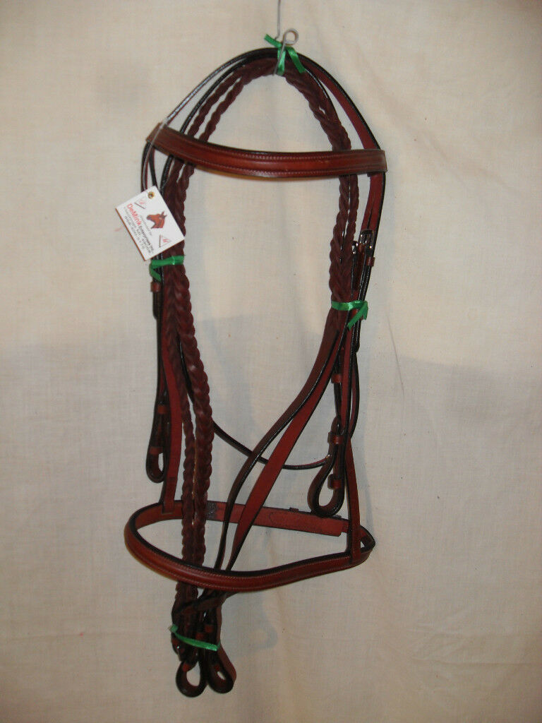 NEW rojoISH marrón LEATHER FULL Talla RAISED SNAFFLE BRIDLE W  PLAITED REINS 5 8