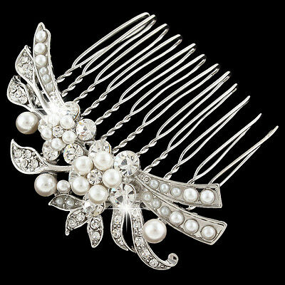 Wedding Bridal Flower Pearl Hair Piece Comb Clear Rhinestone Crystal Silver Tone