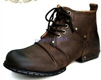 Mens lace up military army genuine leather British style Punk boots ankle shoes