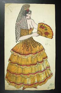 Dessin Original 1930 René Riehl à Paris Danseuse Espagnole Flamenco Et éventail