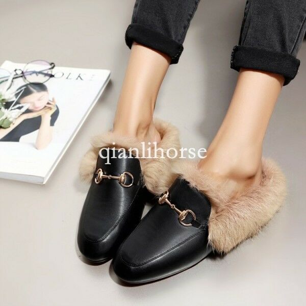 womens hot metal bucble slip on loafers slippers mules furry warm casual shoes