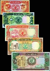 Sudan-1987-1991-gt-50-Piasters-1-5-10-100-Pounds-Banknote-set-of-5-UNC