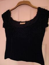 River Island Black Chenille and Velvet Cropped Top, Size 12
