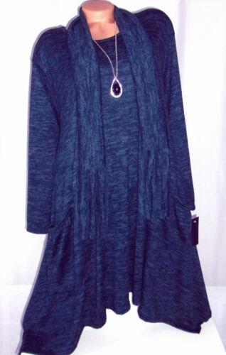 ITALY 2 Tlg Kleid,Longshirt,Tunika,Oversize,Taschen,Schal,Gr.46,48,50,Neu
