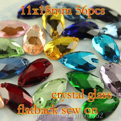 56pcs faceted Rhinestones 11x18mm Crystal foiled Teardrop Sew On Flatback beads
