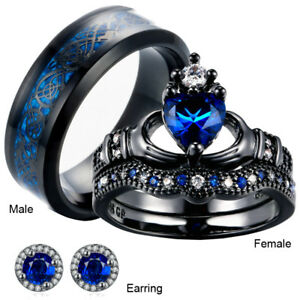 Image Is Loading His And Hers Matching Bridal Set Blue Sapphire
