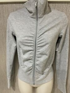 Lululemon Women's Zip Up Athletic Jacket Gray ruched front turtleneck size 2 EUC