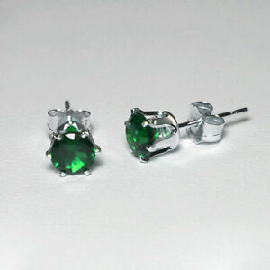 Emerald-Stud-Earrings-Solid-925-Sterling-Silver-Round-Cut