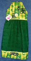 Handmade Plaid John Deere On Green Hanging Kitchen Hand Towel 1229