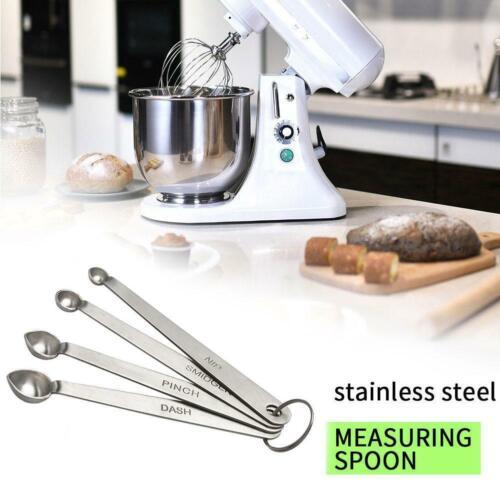 Set of 4 Measuring Spoons Stainless Steel Metal Tablespoon Teaspoon Best