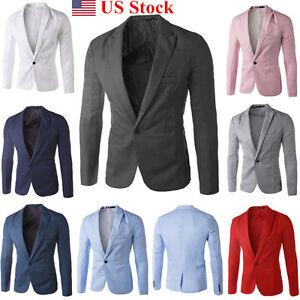 New Mens Casual Slim Fit Formal One Button Suit Blazer Coat Jacket Tops Suit US