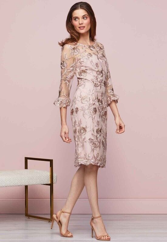 Gina Bacconi Denise Dress Size 10 Pink/Gold Floral Brand New With Tags! RRP