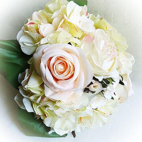 Artificiale Mazzo Di Fiori Rose Hortensie 30cm Bianco Crema Rosa Decorazione Fiori Arte