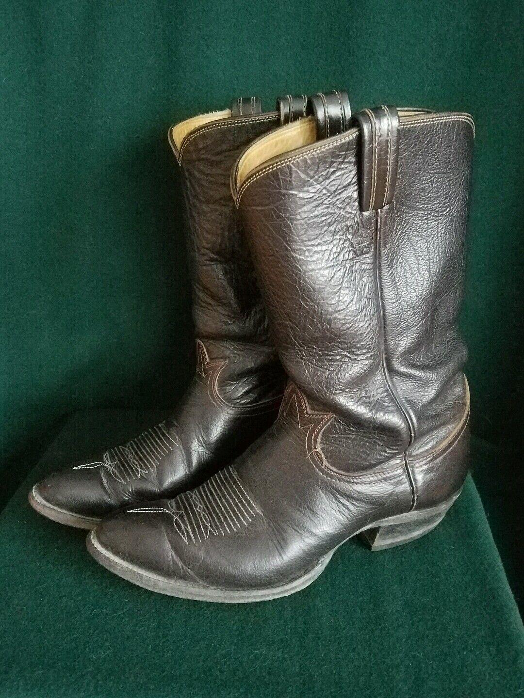 Vintage Tony Lama Cowboy Boots 4100 Black 9.5B Label Dark Brown Bull Hide Mens 9.5B Black 3cb068