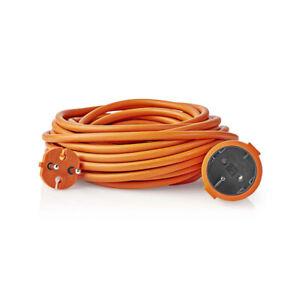 Verlaengerungskabel-10m-15m-20m-Rasenmaeher-Orange-Kindersicherung