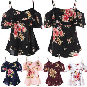 UK-Womens-Off-Shoulder-Floral-Summer-Tops-Ladies-Loose-Casual-Blouse-Tee-T-Shirt