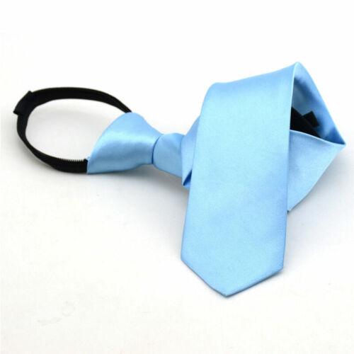 Solid Color Neck Tie Zipper Tie Kids Boys Pre Tied Zip Necktie For School Party