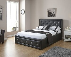 Image Is Loading Double 4ft6 Faux Leather Ottoman Storage Bed Diamante