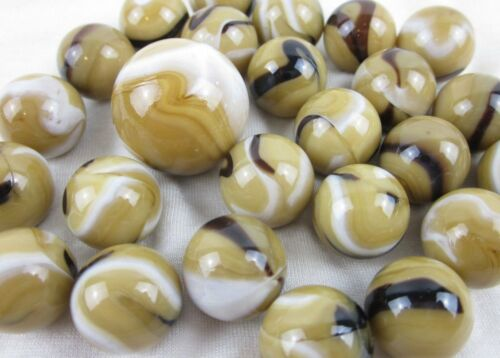 25 Glass Marbles BALD EAGLE Brown//Tan//White game pack vtg style Shooter Swirl