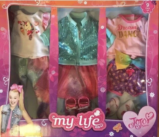 "JOJO SIWA MY LIFE 15-PIECE TRAVEL SET /& OUTFIT BOW /& ACCESSORIES FITS 18/"" DOLL"